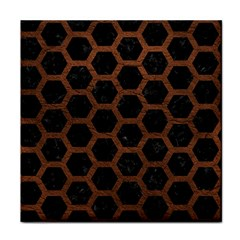 Hexagon2 Black Marble & Dull Brown Leather (r) Face Towel by trendistuff