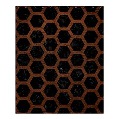 Hexagon2 Black Marble & Dull Brown Leather (r) Shower Curtain 60  X 72  (medium)  by trendistuff