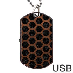 Hexagon2 Black Marble & Dull Brown Leather (r) Dog Tag Usb Flash (one Side) by trendistuff