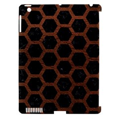 Hexagon2 Black Marble & Dull Brown Leather (r) Apple Ipad 3/4 Hardshell Case (compatible With Smart Cover) by trendistuff