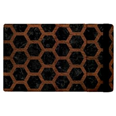 Hexagon2 Black Marble & Dull Brown Leather (r) Apple Ipad Pro 12 9   Flip Case by trendistuff