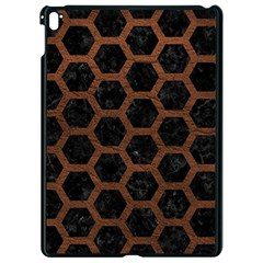 Hexagon2 Black Marble & Dull Brown Leather (r) Apple Ipad Pro 9 7   Black Seamless Case by trendistuff