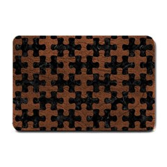 Puzzle1 Black Marble & Dull Brown Leather Small Doormat  by trendistuff