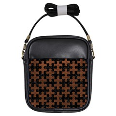 Puzzle1 Black Marble & Dull Brown Leather Girls Sling Bags by trendistuff