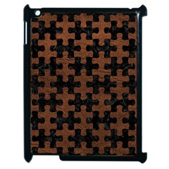 Puzzle1 Black Marble & Dull Brown Leather Apple Ipad 2 Case (black) by trendistuff