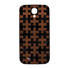 Puzzle1 Black Marble & Dull Brown Leather Samsung Galaxy S4 I9500/i9505  Hardshell Back Case by trendistuff