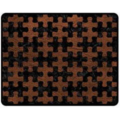 Puzzle1 Black Marble & Dull Brown Leather Double Sided Fleece Blanket (medium)  by trendistuff