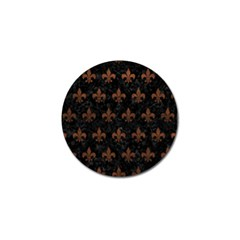 Royal1 Black Marble & Dull Brown Leather Golf Ball Marker by trendistuff