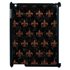 Royal1 Black Marble & Dull Brown Leather Apple Ipad 2 Case (black) by trendistuff