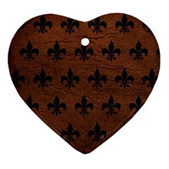 Royal1 Black Marble & Dull Brown Leather (r) Heart Ornament (two Sides) by trendistuff