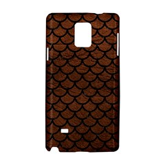 Scales1 Black Marble & Dull Brown Leather Samsung Galaxy Note 4 Hardshell Case by trendistuff