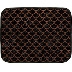 Scales1 Black Marble & Dull Brown Leather (r) Double Sided Fleece Blanket (mini)