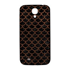 Scales1 Black Marble & Dull Brown Leather (r) Samsung Galaxy S4 I9500/i9505  Hardshell Back Case by trendistuff