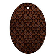 Scales2 Black Marble & Dull Brown Leather Ornament (oval) by trendistuff
