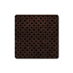 Scales2 Black Marble & Dull Brown Leather (r) Square Magnet by trendistuff