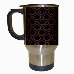 Scales2 Black Marble & Dull Brown Leather (r) Travel Mugs (white) by trendistuff