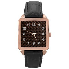 Scales2 Black Marble & Dull Brown Leather (r) Rose Gold Leather Watch  by trendistuff