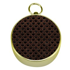 Scales2 Black Marble & Dull Brown Leather (r) Gold Compasses by trendistuff
