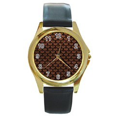 Scales3 Black Marble & Dull Brown Leather Round Gold Metal Watch by trendistuff