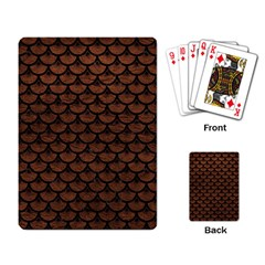 Scales3 Black Marble & Dull Brown Leather Playing Card by trendistuff
