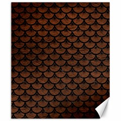 Scales3 Black Marble & Dull Brown Leather Canvas 20  X 24   by trendistuff