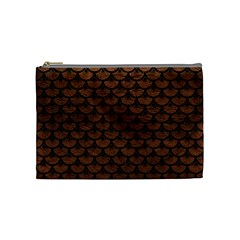 Scales3 Black Marble & Dull Brown Leather Cosmetic Bag (medium)  by trendistuff