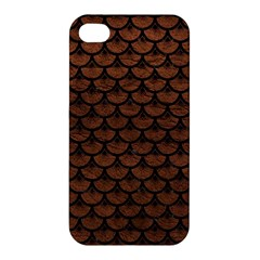 Scales3 Black Marble & Dull Brown Leather Apple Iphone 4/4s Premium Hardshell Case by trendistuff