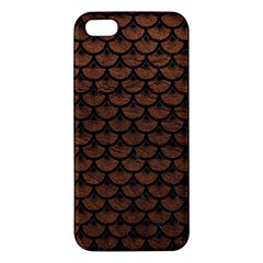Scales3 Black Marble & Dull Brown Leather Iphone 5s/ Se Premium Hardshell Case by trendistuff