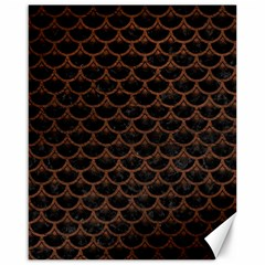 Scales3 Black Marble & Dull Brown Leather (r) Canvas 16  X 20   by trendistuff