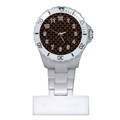 Scales3 Black Marble & Dull Brown Leather (r) Plastic Nurses Watch by trendistuff
