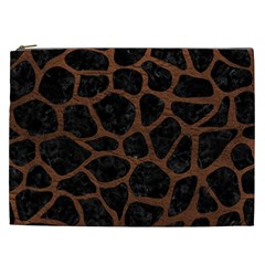 Skin1 Black Marble & Dull Brown Leather Cosmetic Bag (xxl)  by trendistuff