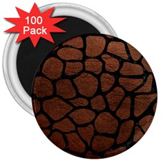 Skin1 Black Marble & Dull Brown Leather (r) 3  Magnets (100 Pack) by trendistuff