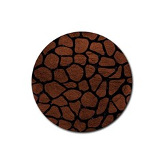 Skin1 Black Marble & Dull Brown Leather (r) Rubber Coaster (round)  by trendistuff