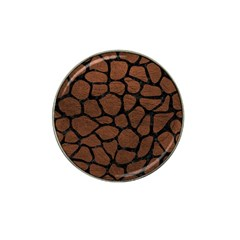 Skin1 Black Marble & Dull Brown Leather (r) Hat Clip Ball Marker (10 Pack) by trendistuff
