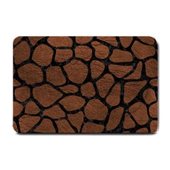 Skin1 Black Marble & Dull Brown Leather (r) Small Doormat  by trendistuff