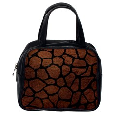 Skin1 Black Marble & Dull Brown Leather (r) Classic Handbags (one Side) by trendistuff