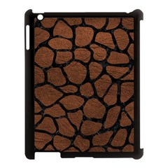 Skin1 Black Marble & Dull Brown Leather (r) Apple Ipad 3/4 Case (black) by trendistuff