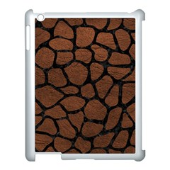 Skin1 Black Marble & Dull Brown Leather (r) Apple Ipad 3/4 Case (white) by trendistuff