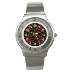 Skin2 Black Marble & Dull Brown Leather Stainless Steel Watch by trendistuff