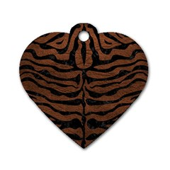 Skin2 Black Marble & Dull Brown Leather Dog Tag Heart (two Sides) by trendistuff