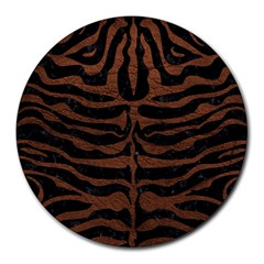 Skin2 Black Marble & Dull Brown Leather (r) Round Mousepads by trendistuff