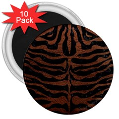 Skin2 Black Marble & Dull Brown Leather (r) 3  Magnets (10 Pack)  by trendistuff