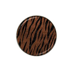 Skin3 Black Marble & Dull Brown Leather Hat Clip Ball Marker (10 Pack) by trendistuff