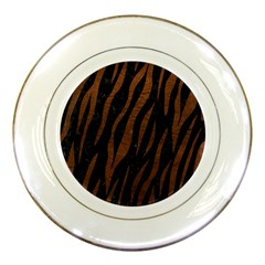 Skin3 Black Marble & Dull Brown Leather (r) Porcelain Plates by trendistuff