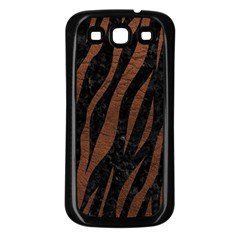 Skin3 Black Marble & Dull Brown Leather (r) Samsung Galaxy S3 Back Case (black) by trendistuff