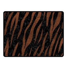 Skin3 Black Marble & Dull Brown Leather (r) Double Sided Fleece Blanket (small)  by trendistuff