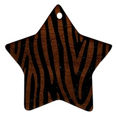 Skin4 Black Marble & Dull Brown Leather Ornament (star) by trendistuff