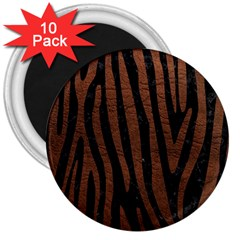 Skin4 Black Marble & Dull Brown Leather 3  Magnets (10 Pack)