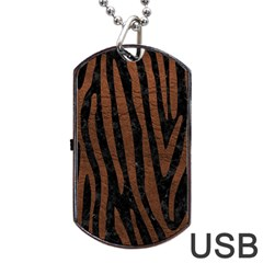 Skin4 Black Marble & Dull Brown Leather Dog Tag Usb Flash (one Side) by trendistuff