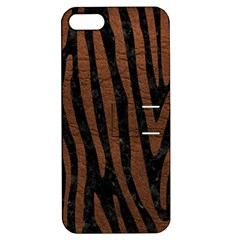 Skin4 Black Marble & Dull Brown Leather Apple Iphone 5 Hardshell Case With Stand by trendistuff